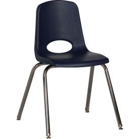 """ECR4Kids Classroom Stack Chair with Feet Glides - 18"""" - Navy - Pkg Qty 5"""