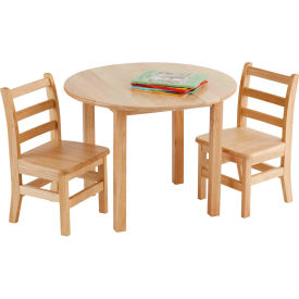 """30"""" Round Hardwood Table and (2) Chairs Set"""
