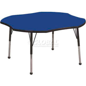"ECR4Kids® 48"" Clover Adj Activity Table Blue Top Black Edge Juvenile Legs Ball Glide"