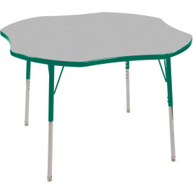 "48"" Clover Adjustable Height Activity Table - Gray with Green Edge - Green Standard Leg Swivel Glide"