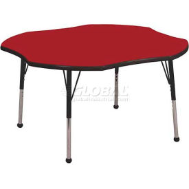 "ECR4Kids® 48"" Clover Adj Activity Table Red Top Black Edge Juvenile Legs Ball Glide"