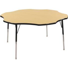 "60"" Flower Adj Activity Table Maple Top Black Edge Black Std Leg Swivel Glide"