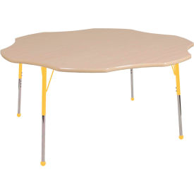 """60"""" Flower Adjustable Height Activity Table - Maple with Maple Edge - Yellow Juvenile Leg Ball Glide"""