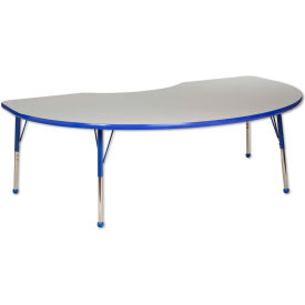 48x72 Kidney Activity Table Gray Top Blue Edge Blue Juvenile Leg Ball Glide