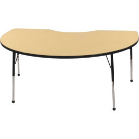 48x72 Kidney Activity Table Maple Top Black Edge Black Std Leg Ball Glide