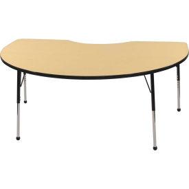 48x72 Kidney Activity Table Maple Top Black Edge Black Std Leg Ball Glide