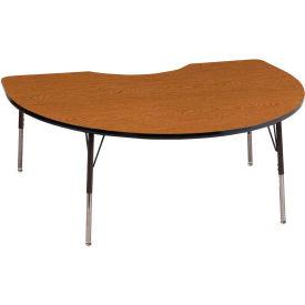 """ECR4Kids® 48"""" x 72"""" Kidney Activity Table - Oak with Black Edge - Standard Legs Swivel Glide"""