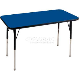 "ECR4Kids® 24"" x 36"" Rect Adj Activity Table Blue Top Black Edge Standard Legs Ball Glide"