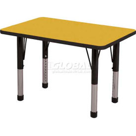 "ECR4Kids® 24"" x 36"" Rect Adj Activity Table Yellow Top Black Edge Juvenile Legs Ball Glide"