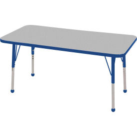 "24"" x 48"" Rectangular Activity Table - Gray Top Blue Edge Blue Standard Leg Ball Glide"