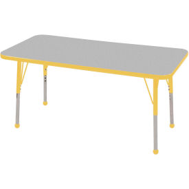 "24"" x 48"" Rectangular Activity Table - Gray Top Yellow Edge Yellow Standard Leg Ball Glide"
