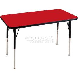"ECR4Kids® 24"" x 48"" Rect Adj Activity Table Red Top Black Edge Juvenile Legs Ball Glide"