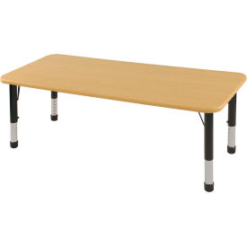 "30"" x 60"" Rectangular Activity Table - Maple Top Maple Edge Black Chunky Leg Ball Glide"