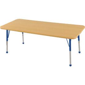 "30"" x 60"" Rectangular Activity Table - Maple Top Maple Edge Blue Juvenile Leg Ball Glide"