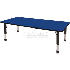 "ECR4Kids® 30"" x 72"" Rectangular Activity Table - Blue with Black Edge - Chunky Legs Ball Glide"