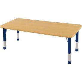 "30"" x 72"" Rectangular Activity Table - Maple Top Maple Edge Blue Chunky Leg Ball Glide"