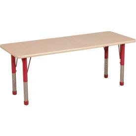 "36"" x 72"" Rectangular Activity Table - Maple Top Maple Edge Red Chunky Leg Ball Glide"