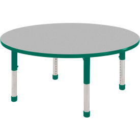 "36"" Round Adjustable Height Activity Table - Maple with Green Edge - Green Chunky Leg Ball Glide"