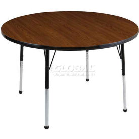 "ECR4Kids® 36"" Round Adj Activity Table Teak Top Black Edge Juvenile Legs Swivel Glide"