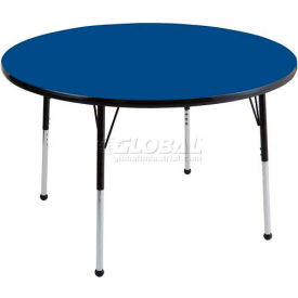 "ECR4Kids® 48"" Round Adjustable Activity Table - Blue with Black Edge - Standard Legs Ball Glide"