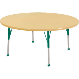 """48"""" Round Adjustable Height Activity Table - Maple with Maple Edge - Green Standard Leg Ball Glide"""