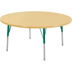 "48"" Round Adjustable Height Activity Table - Maple with Maple Edge - Green Juvenile Leg Swivel Glide"