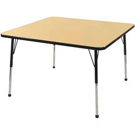 "48"" Square Adj Activity Table Maple Top Maple Edge Red Juvenile Leg Ball Glide"
