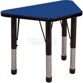 "ECR4Kids® 18"" x 30"" Trapezoid Adj Activity Table Blue Top Black Edge Chunky Legs Ball Glide"