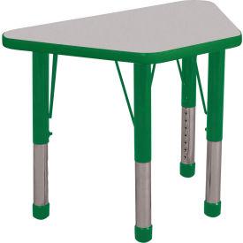 20x33 Trapezoid Activity Table Gray Top Green Edge Green Chunky Leg Ball Glide