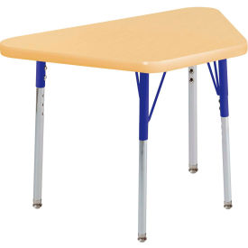 20x33 Trapezoid Activity Table Maple Top Maple Edge blue Std Leg Swivel Glide