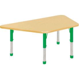 30x60 Trapezoid Activity Table Maple Top Maple Edge Green Chunky Leg Ball Glide