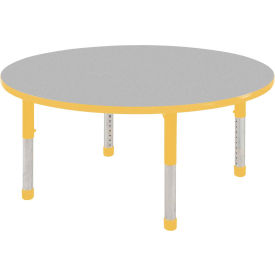 """ECR4Kids® 30"""" x 30"""" Round 15"""" to 24""""H Adjustable Activity Table Gray/Yellow with Swivel Glides"""