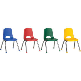 "ECR4Kids® 10"" Stack Chair with Chrome Legs & Ball Glides Assorted Colors 6 Pack"