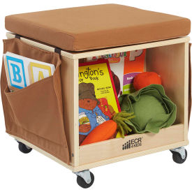 "ECR4Kids® 18"" Hardwood Mobile Cushion Teacher Stool & Cubby with Side Pockets & Pouch"