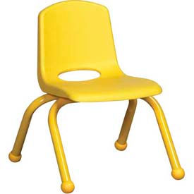 """10"""" School Stack Chair Yellow Seat Yellow Coordinating Legs Ball Glide, Priced Ea, Sold 6/PK - Pkg Qty 6"""