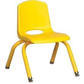 """10"""" School Stack Chair Yellow Seat Yellow Coordinating Legs Swivel Glide, Priced Ea, Sold 6/PK - Pkg Qty 6"""