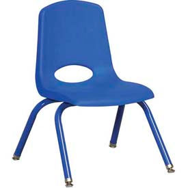"""12"""" School Stack Chair Blue Seat Blue Coordinating Legs Swivel Glide, Priced Ea, Sold 6/PK - Pkg Qty 6"""