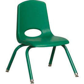 """12"""" School Stack Chair Green Seat Green Coordinating Legs Swivel Glide, Priced Ea, Sold 6/PK - Pkg Qty 6"""