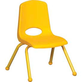 "12"" School Stack Chair Yellow Seat Yellow Coordinating Legs Ball Glide, Priced Ea, Sold 6/PK - Pkg Qty 6"