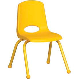 """14"""" School Stack Chair Yellow Seat Yellow Coordinating Legs Ball Glide, Priced Ea, Sold 6/PK - Pkg Qty 6"""