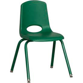 """16"""" School Stack Chair Green Seat Green Coordinating Legs Swivel Glide, Priced Ea, Sold 6/PK - Pkg Qty 6"""