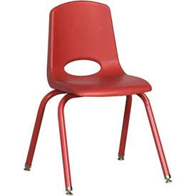 """16"""" School Stack Chair Red Seat Red Coordinating Legs Swivel Glide, Priced Ea, Sold 6/PK - Pkg Qty 6"""