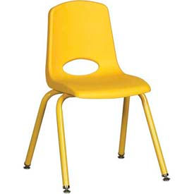 "16"" School Stack Chair Yellow Seat Yellow Coordinating Legs Swivel Glide, Priced Ea, Sold 6/PK - Pkg Qty 6"
