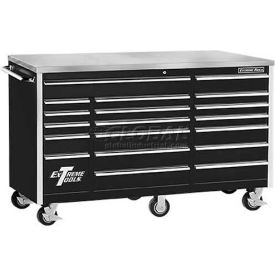 "Extreme Tools 72"" 18 Drawer Professional Triple Bank Roller Cabinet in..."