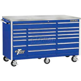 "Extreme Tools 72"" 18 Drawer Professional Triple Bank Roller Cabinet in Blue"