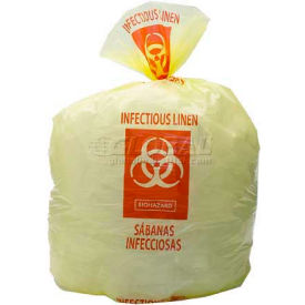 "High Density Yellow Infectious Linen Liner, 14 Microns, 31"" x 43"", Pkg Qty 250"