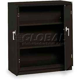 "Equipto Counter High Cabinet, 36""W x 24""D x 42""H, Textured Black"