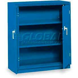 "Equipto Counter High Cabinet, 36""W x 24""D x 42""H, Textured Regal Blue"