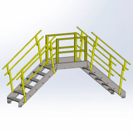 Equipto 1724B04 Cross Over Bridge, 36-1/2' Overall Width, 4 Stairs