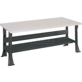 Open Leg Bench w/Shelf and Conductive Top- 6', Black